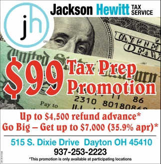 $99 Tax Prep Promotion